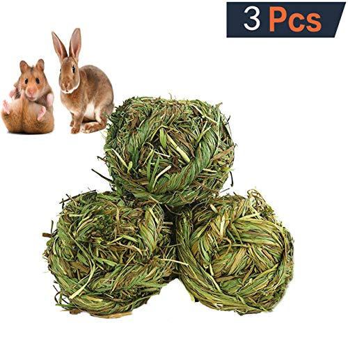 Medium Grass Ball - Tfwadmx Natural Timothy Grass Ball Bunny Woven Grass Ball Hay Play Ball Chew Toy for Hamster Rabbit Rat Gerbil Guinea Pig Chinchilla Sugar Glider(3 Pack)