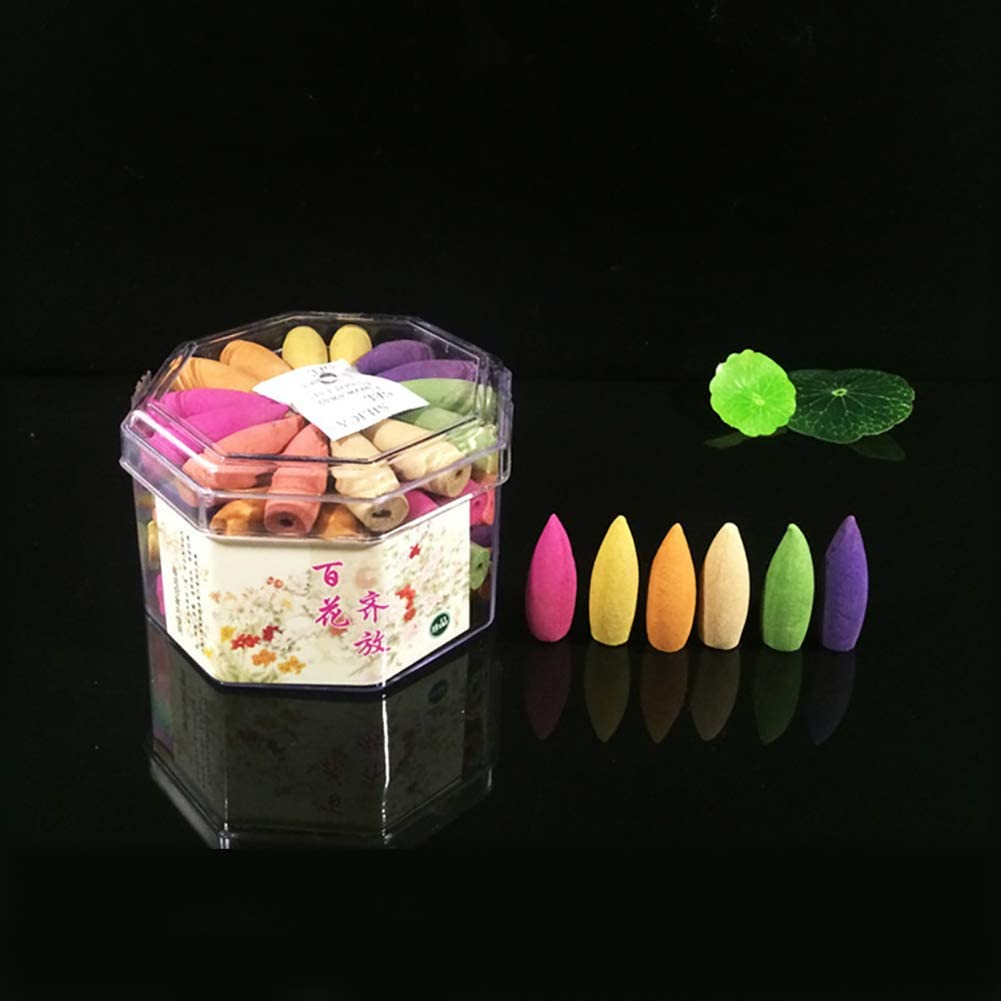 70 Incense Cones Dinghao Backflow Incense Cones 70 Pcs 7 Mixed Natural Scents Rose Magnolia Sandalwood Jasmine Osmanthus Lavender Tibetan Incense Waterfall Incense Fragrance Small Cones Scents