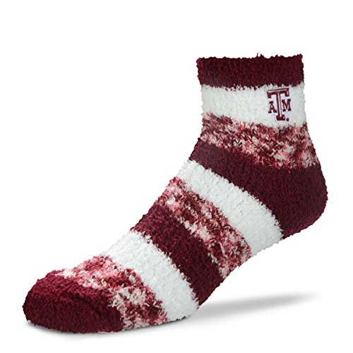 (For Bare Feet NCAA RMC Pro Stripe Fuzzy Sleep Soft Sock -Texas A&M Aggies-Size-Medium)