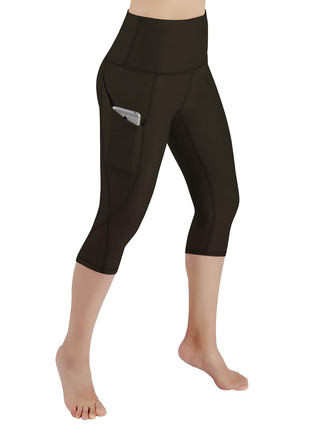 ODODOS Women's High Waist Yoga Capris with Pockets,Tummy Control,Workout Capris Running 4 Way Stretch Yoga Leggings with Pockets,Olive,Medium by ODODOS