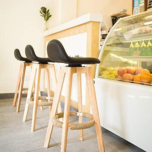 Tabouret De Bar Rotatif Chaise Domaine Simplifié En Bois Massif Café Haut Rétro Bureau De Réception Petit-déjeuner Cuisine Comptoir Chaises Tabourets (taille : 84)