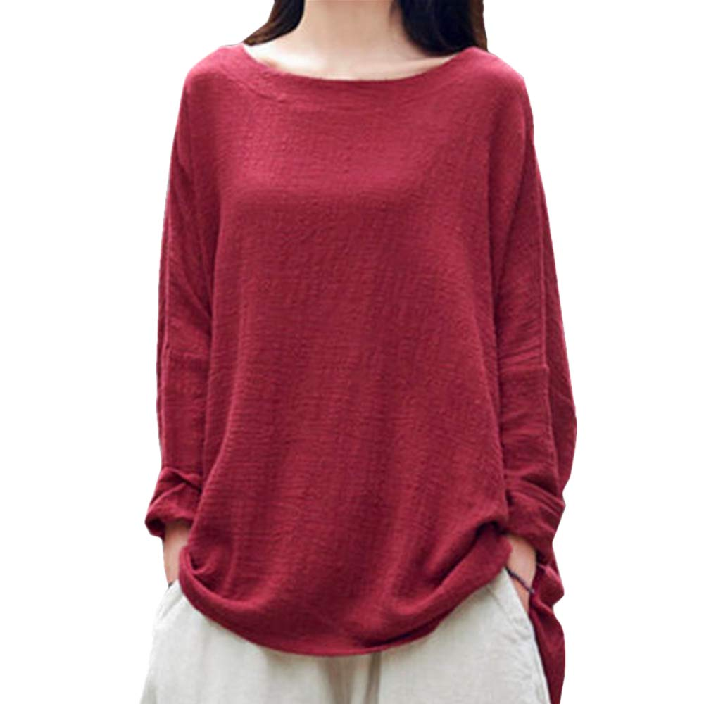 ZYEE Clearance Sale! Womens Blouse Cotton and Linen Round Sleeve Long Sleeve T-Shirt Tops Blouse at Amazon Womens Clothing store: