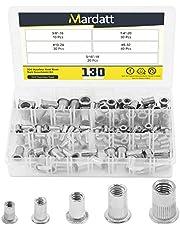 "Mardatt 130Pcs SAE 304 Stainless Steel Rivet Nuts Rivnut Assortment Kit Flat Head Threaded UNC Rivetnut Insert Nutsert Assort (#8-32#10-24 1/4""-20 5/16""-18 3/8""-16)"