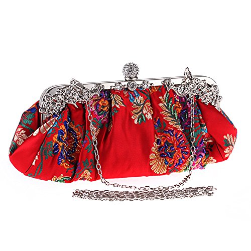 Vintage Jewels Beaded Floral Embroidered Evening Clutch 2017 Sparkly Ball Clasp Metal Top Hand Bag(Red)