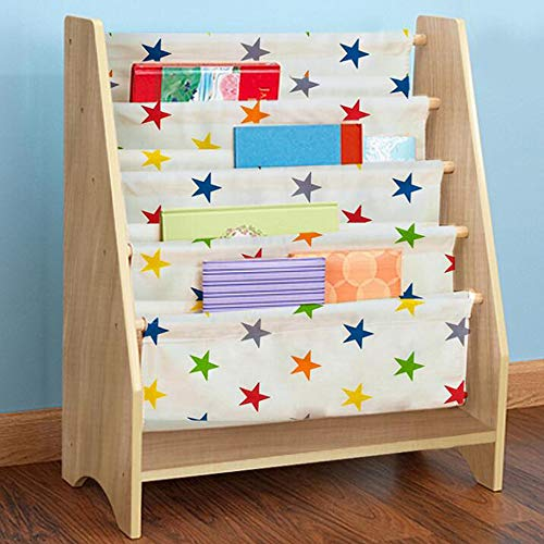 HUO, Kids Sling Bookcase, Wooden Children's Bookshelf with Pocket Storage Book Rack (Natural) Bookcases (Style : Colorful Star Fabric)