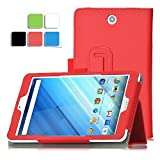 Acer Iconia One 8 B1-850 case, KuGi ® Acer Iconia One 8 B1-850-Multi-Angle Stand Slim-Book PU Leather Cover Case only fit for for Acer Iconia One 8 B1-850 tablet (Red)