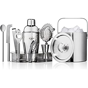 GSCW Bar Set with Ice Bucket - 10 Piece Stainless Steel Bartender Mixology Kit with Cocktail Shaker, Jigger, Strainer, Corkscrew, Bottle Opener, Tongs, Stirrer, Cheese Knife and Stand