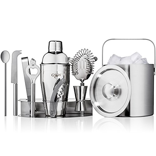 GSCW Bar Set with Ice Bucket - 10 Piece Stainless Steel Bartender Mixology Kit with Cocktail Shaker, Jigger, Strainer, Corkscrew, Bottle Opener, Tongs, Stirrer, Cheese Knife and Stand (Bucket Mini Set)