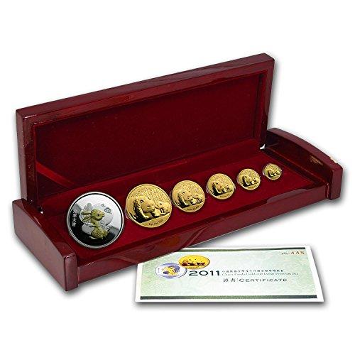 CN 2011 China 6-Coin Gold Panda & Lunar Premium Rabbit Set BU Brilliant Uncirculated -