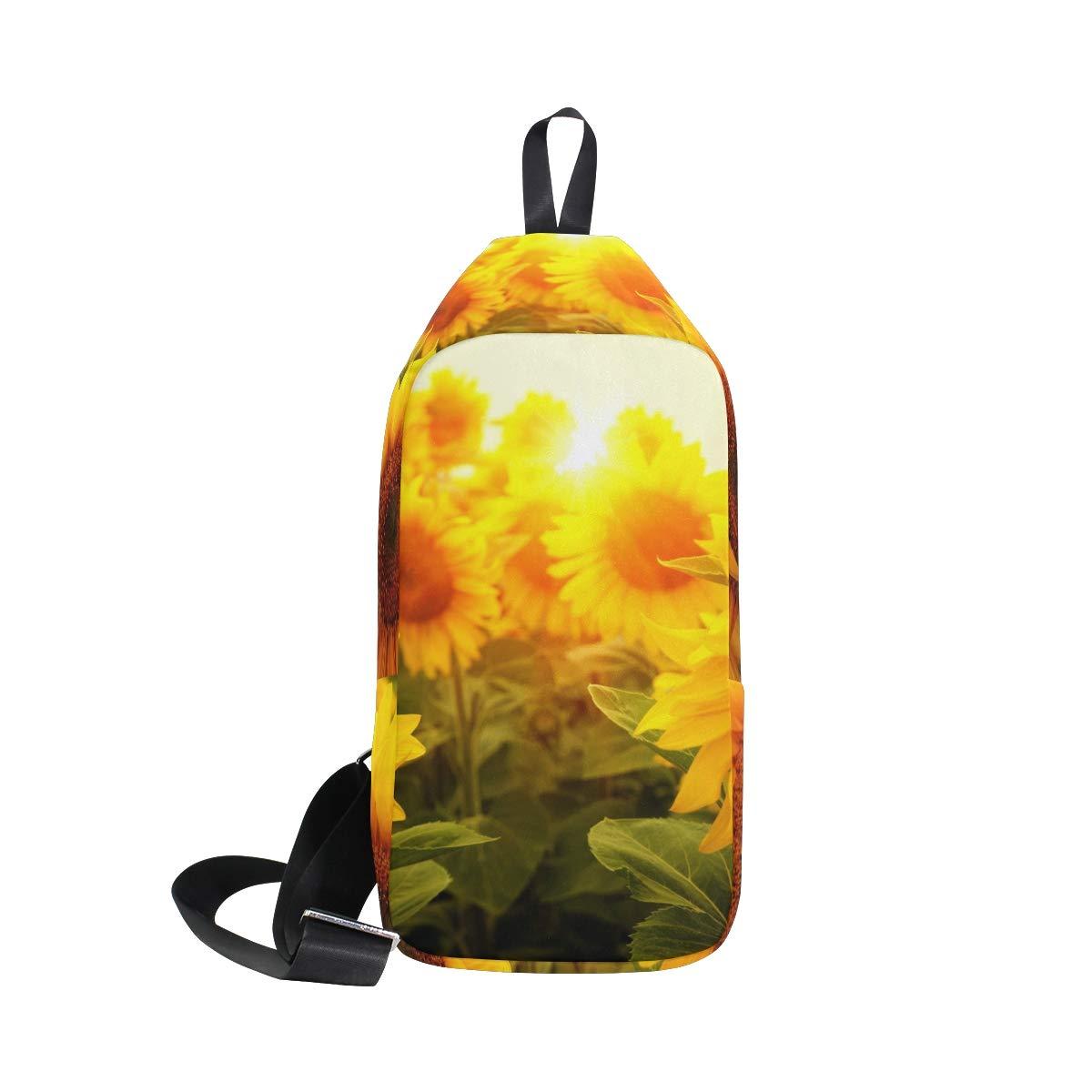 TFONE Summer Sunflower Flower Crossbody Bag Lightweight Chest Shoulder Messenger Pack Backpack Sling Bag