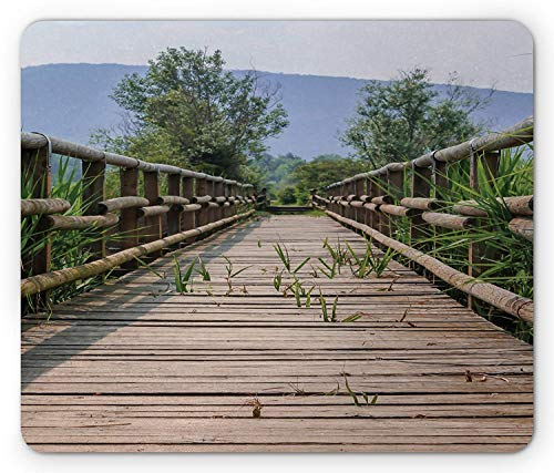 Landscape Mouse Pad, Detrited Old Wooden Bridge Covered by Long Grass Field Summer Season Gaming Mousepad Office Mouse Mat Cocoa Green Pale Blue ()