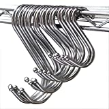 Prudance Larger Round S Shaped Stainless Steel Hanging HooksSet With 10 Hooks - Ideal for Pots, Pans, Spoons & Other Kitchen Essentials - Perfect for Clothing