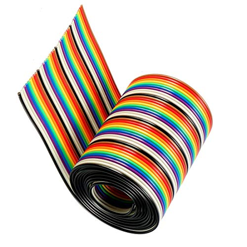 Price comparison product image Aodesy 1.27mm Pitch Rainbow Color Breadboard Flat Ribbon Cable for 2.54mm Connectors DIY 1M / 3.3Ft Long