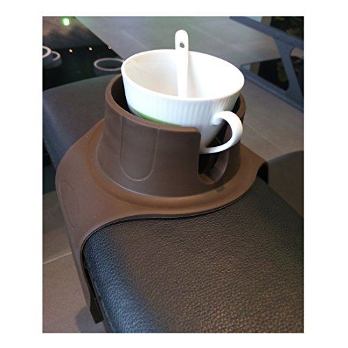 Couch cup holder Sofa Arm Rest Tray Table Fits over square or rounded chair arms. Cup Holders Elegant design. brown by Natividad