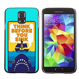 Licase Hard Protective Case Skin Cover for Samsung Galaxy S5 - Funny Shark Message