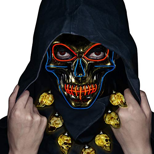 Halloween Mask- LED Light Up Purge Mask Safe EL Wire Scary Mask for Costume Festival Parties(Included LED Necklaces) Gold