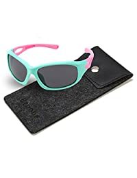 Brooben Kids Sports Style Polarized Sunglasses Rubber Flexible Frame S8186
