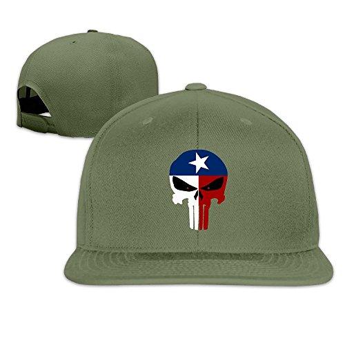 JAX D Unisex-Adult Texas Flag Skull Snapback Hip Hop Caps Hat ForestGreen