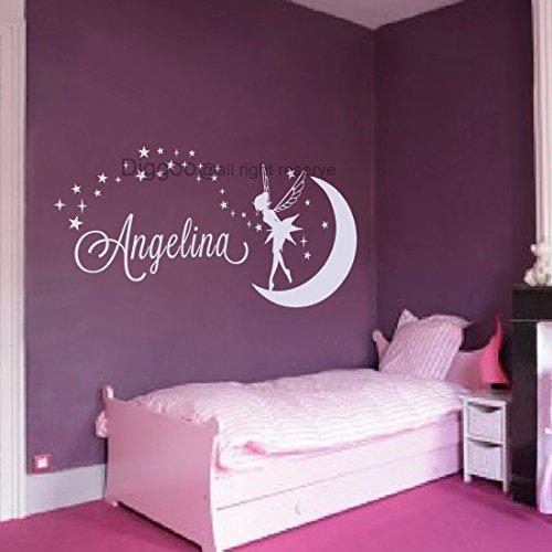 Name Wall Decal Tinkerbell Fairy Silhouette Moon Girl Vinyl Decals Sticker Magic Little Princess Nursery Decor (White,25