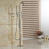 Rozinsanitary Nickel Brushed Bathtub Faucet Waterfall Tub Filler W/ Hand Unit Floor Standing