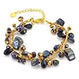"Chuvora Silk Thread Mother of Pearl Freshwater Pearl Gemstones Handmade Bracelet 7""-9"""
