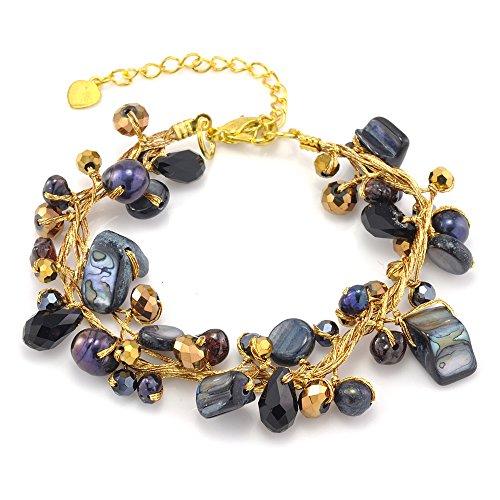 "Chuvora Silk Thread Black Mother of Pearl Shell Freshwater Pearl Gemstones Handmade Bracelet 7""-9"""