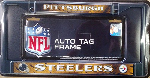 Pittsburgh Steelers BLACK LBL Chrome Metal License Plate Tag Frame Cover by Rico