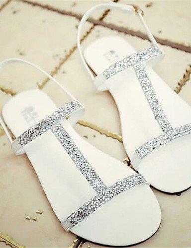 LFNLYX Zapatos de mujer - Tacón Plano - Punta Abierta - Sandalias - Vestido - Semicuero - Negro / Blanco White
