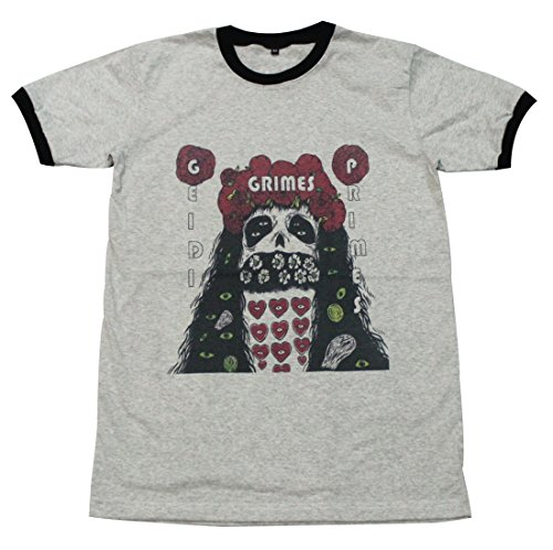 [Grimes skull pop dance electronic party house music dj T-Shirt / GV63.4 size XL] (Mens Disco Jumpsuit)