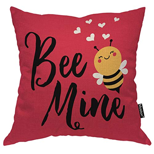 Moslion Love Bee Pillow Cover Cute Cartoon Animal with Quote Bee Mine Heart for Valentine's Day Throw Pillow Cover 18x18 Inch Cotton Linen Decorative Square Cushion for Sofa Bed Red (Valentines Day Throw Pillows)
