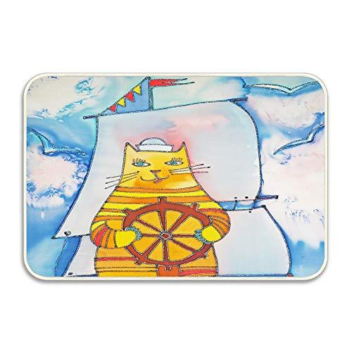 (cokefy Premium Entry Mat | Entrance Mat| Ideal as Front Door Mat or Entry Rug |16X24 Mariner Cat)