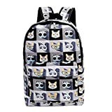 KINGREE Canvas Backpack For Women and Men, Stylish Print Daily Backpack for Girls and Boys(Glasses cat)