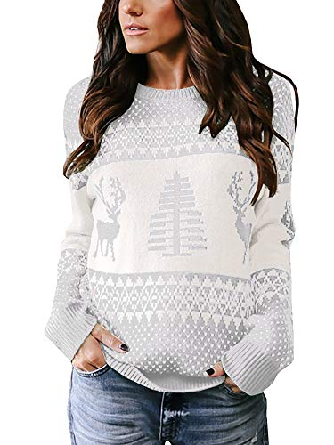 Womens Ugly Christmas Sweater Xmas Tree Reindeer Crewneck Cable Knit Pullover Sweaters ()