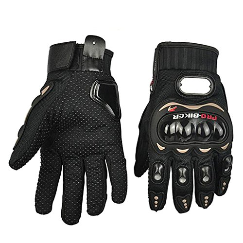 fengus Breathable A Pair of Full Finger Gloves Motorcycle Motorbike Motocross Dirt Bike Gloves for Outdoor Racing Cycling Sports --- black - L