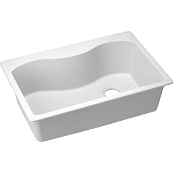 elkay elgs3322rwh0 harmony 22 inch x 33 inch single basin drop in quartz - White Single Basin Kitchen Sink