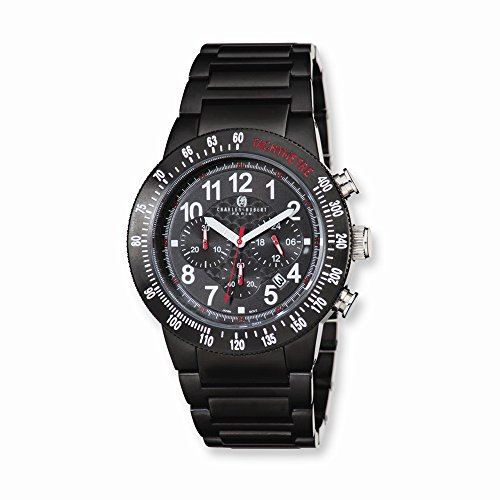 Charles-Hubert, Paris Men's 3896-B Premium Collection Black Ion-Plated Stainless Steel Chronograph Watch