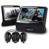 XTRONS Black Twin 2x9 HD Active Car Pillow Headrest Monitor Portable DVD/USB Player Game HDMI&Black IR Headphones Included