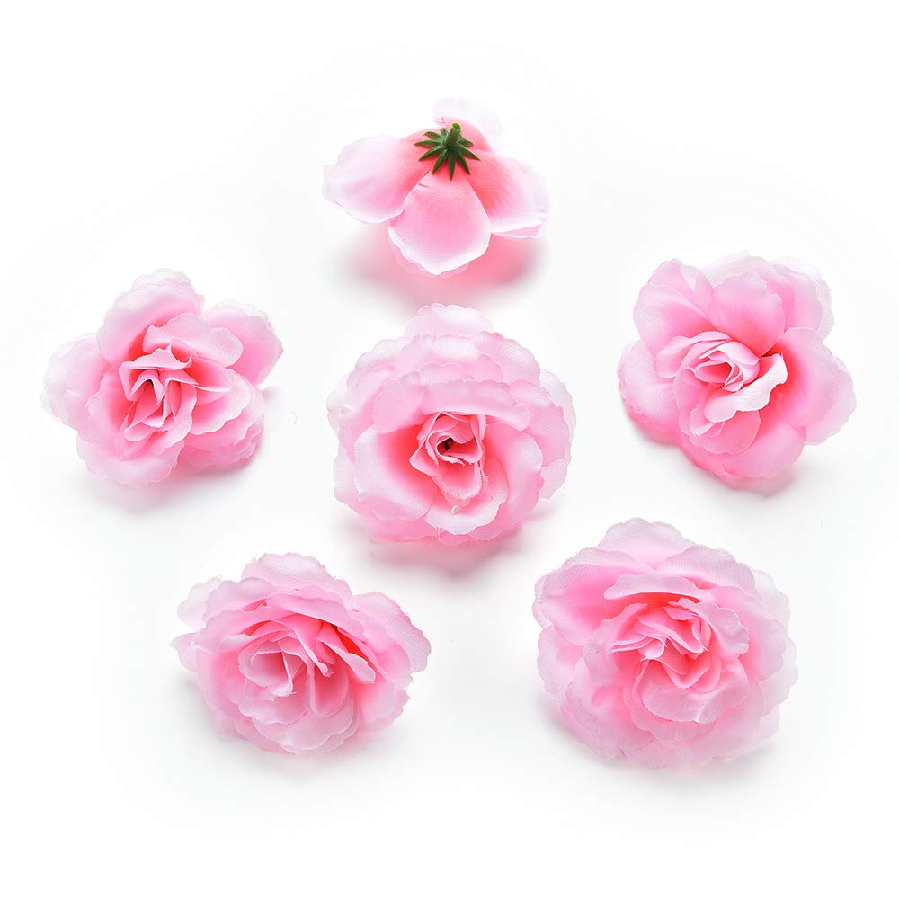 Csoudna 造花 造花 バラ シルク 花 DIY 造花 デコレーション ウェディング ホーム装飾 お祭り アクセサリー パーティー装飾 30個/ロット 7cm ピンク B07KM34CGX ピンク