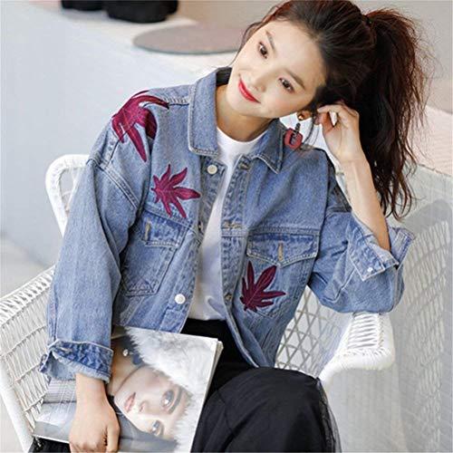 Lanceyy Giacca Blau Tempo Vintage Jacket Base Libero Stlie Grazioso Elegante Lunga Autunno Primaverile Giacche Outerwear Ricamate Jeans Moda Manica Ragazze Donna FrqxSRwF5