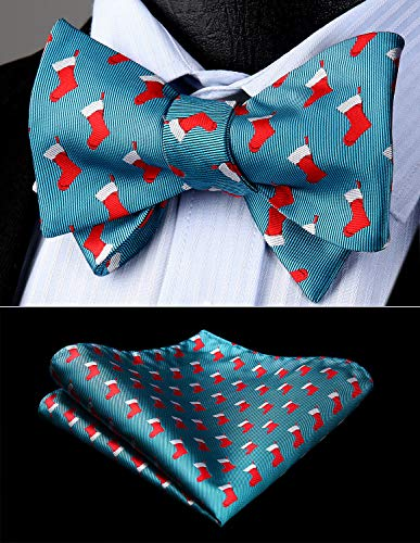51f798abbbd2 Amazon.com: HISDERN Men's Christmas Sock Woven Party Self Bow Tie Pocket  Square Set: Clothing