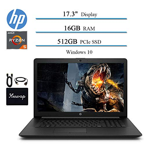 2020 Newest HP 17.3″ HD+ Premium Laptop Computer, AMD Ryzen 5 3500U 4-Core (Beat i7-7500U ), 16GB RAM, 512GB PCIe SSD, AMD Radeon Vega 8, Bluetooth, WiFi, HDMI, Win 10 w/HESVAP Accessories