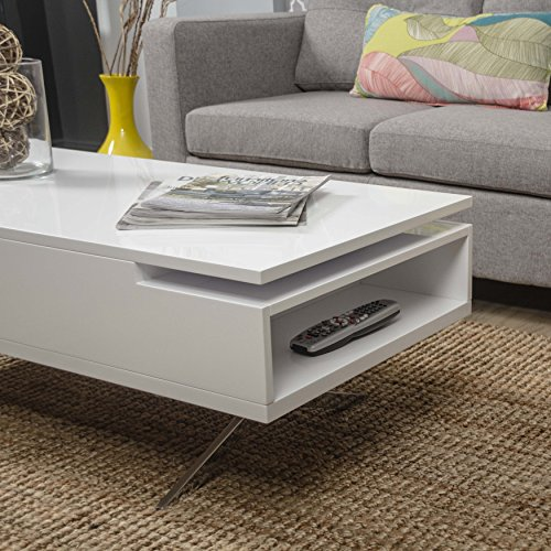 Mix High Gloss Lacquer Wood Stainless Steel Legs White