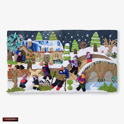 (Winter play medium 3D arpillera from Peru, Quilted Christmas Wall Hanging 10