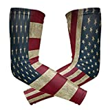 ShineSnow Classic July 4Th Independence Day USA American1 Pair Sports Cooling Sun Protection Compression Arm Sleeves, Unisex Youth Adult Baseball Basketball Golf Tennis Running Cooler 2 pieces