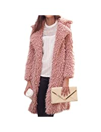 MIOIM Womens Winter Jacket Faux Fur Cardigan Outwear Long Trench Coat Lapel Overcoat