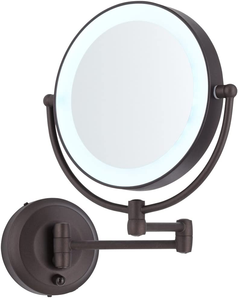 "Zadro Cordless LED Pivoting 9"" Wide Oil-Rubbed Bronze Wall Mount Mirror"
