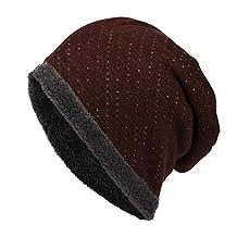 Honeystore Unisex Fleece Lining Winter Warm Wool Knit Daily Beanie Cool Ski Hats Burgundy