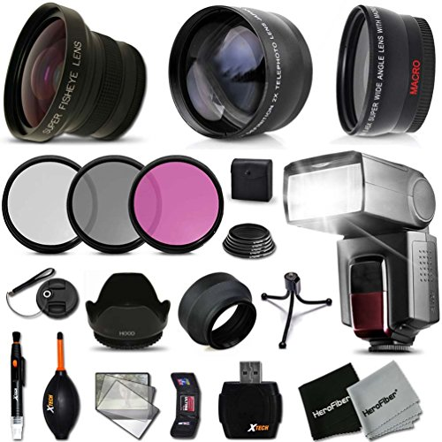 58mm FishEye Lens Accessory Kit Includes: 58MM Super High Definition FishEye Lens, 58MM High Definition Wide Angle Lens with Macro Closeup feature, + 58mm High Definition 2X Telephoto Lens + 3 Piece 58MM HD Filter Set + Ring Adapters to from 46-58mm + Pro by Xtech