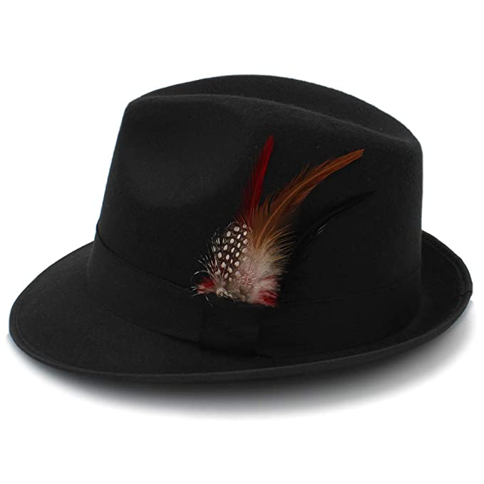 c198f94dbb50f Jazz Fedoras for Women Vintage Wide Brim Fedora Hat Floppy Cloche Men  Gangster Hat Chapeu (Color   Black