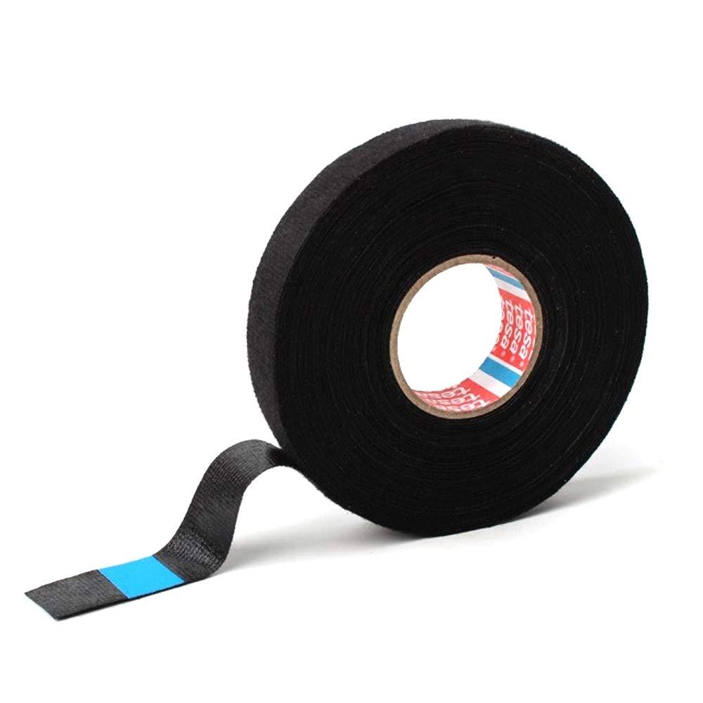 tesa Pet Cinta Adhesiva de Tela no Tejida 15 mm x 15 m para mazos de Cables dom/ésticos o automotrices Color: Negro